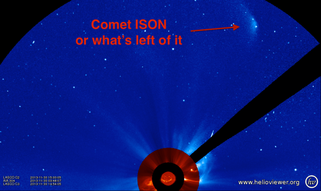 The most recent image of Comet ISON from SOHO/LASCO C3 at of 14:45 UT, 11/30/2013. This is perhaps the final bit of ISON.