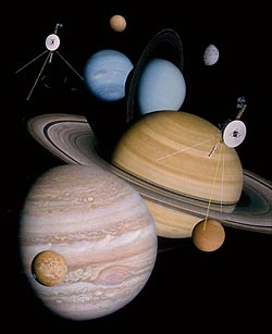 Voyager probes with the outer worlds