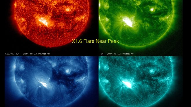 X1.6 solar flare near its peak - shown in 4 SDO/AIA wavelengths.