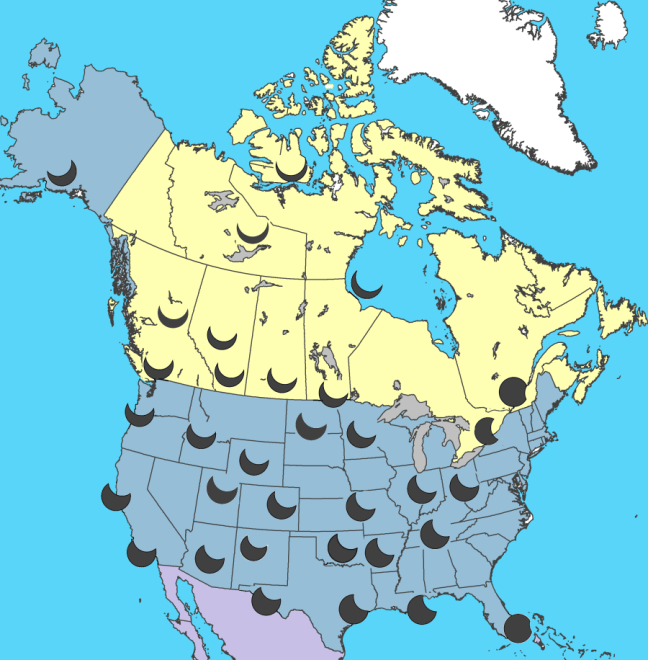 This graphic shows the shape of the eclipse seen in different locations. Credit: Jay Anderson