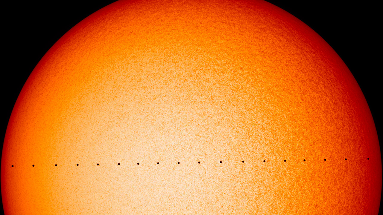 Composite image of Mercury transit across the Sun, as seen by NASA's Solar Dynamics Oberservatory on Nov. 11, 2019. CREDIT: NASA's Goddard Space Flight Center