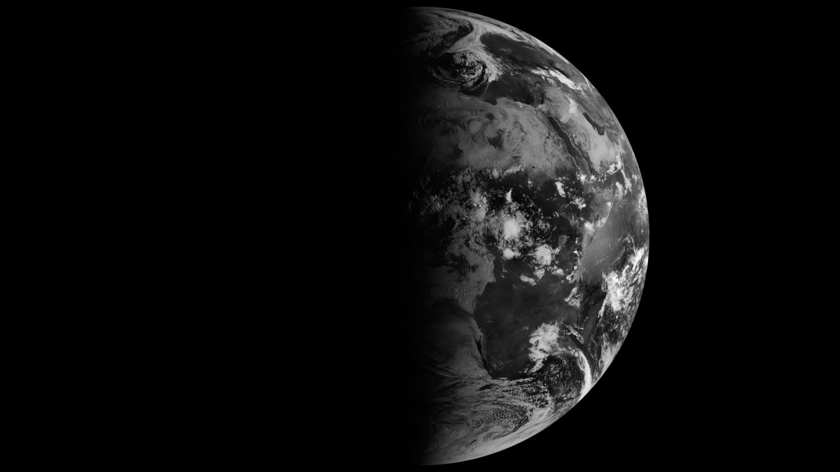 On the September equinox, the terminator is a north-south line, and the sun is said to sit directly above the equator. CREDIT: NASA's Earth Observatory