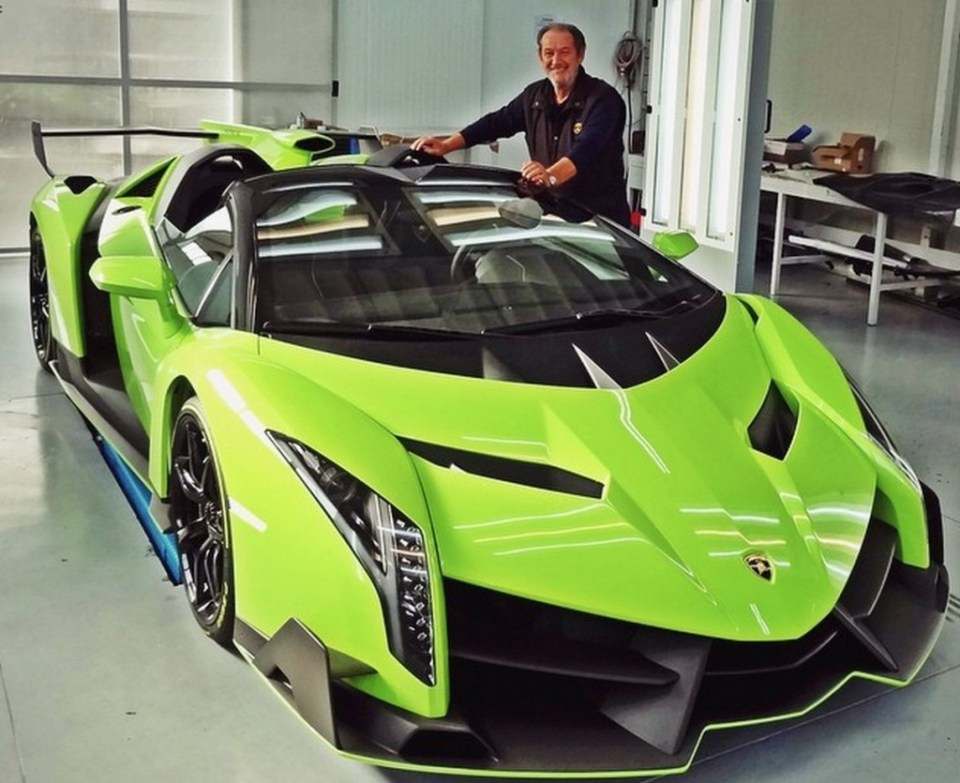 Valentino Balboni with Kris Singh's Veneno Roadster
