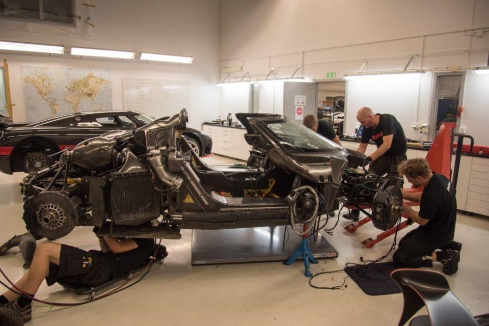 Crashed Koenigsegg One-1 back at Angelholm