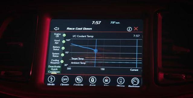 Dodge Challenger Demon Performance Data Screen
