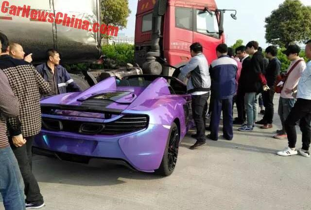 Purple McLaren 650S Spider Crash-China-3