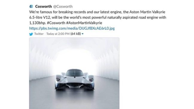 aston martin valkyrie power 1130 hp Cosworth