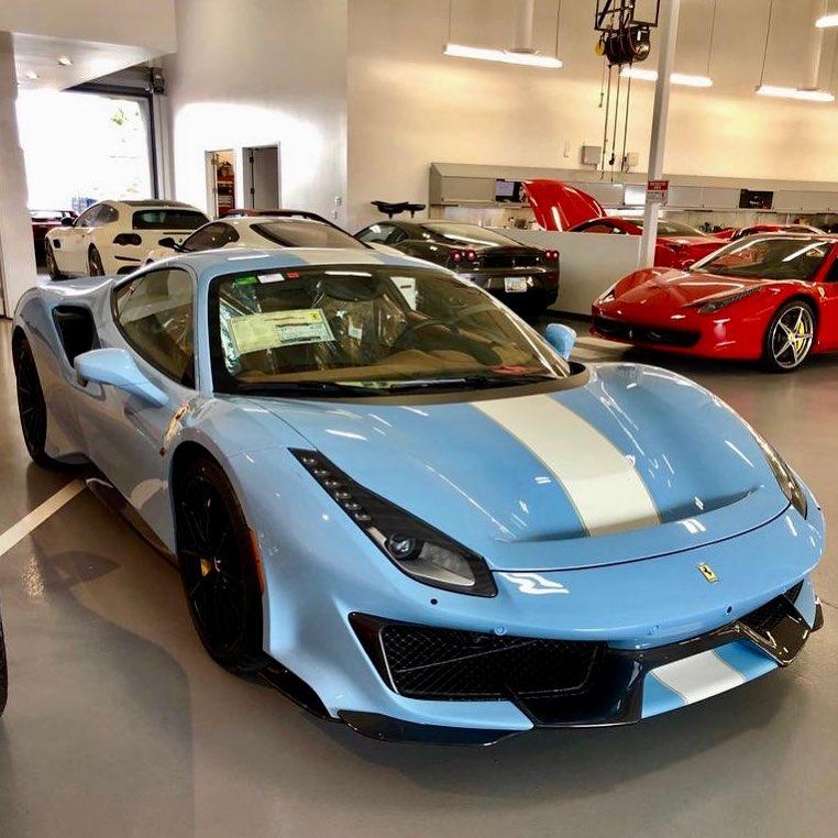 Baby Blue Ferrari 488 Pista-San Diego-1