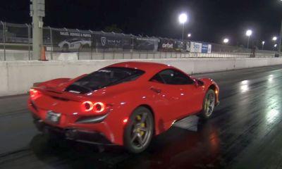Ferrari F8 Tributo-drag-strip-wheelie