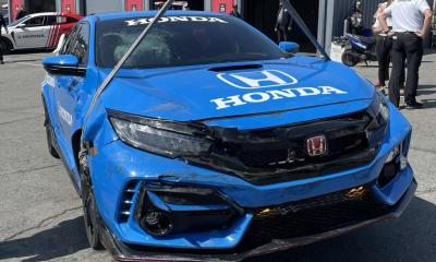 Romain Grosjean Honda Civic pace car crash-Indy car-Laguna Seca