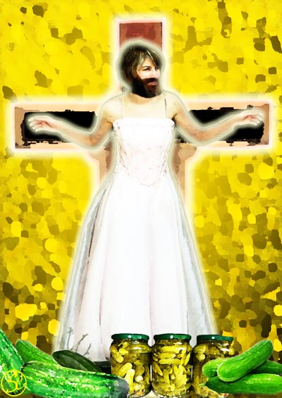 St Uncumber on the cross