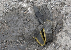 Worker's glove with yellow band, Hisingsgatan, Gothenburg, Sweden 9 Mar '11 08.33