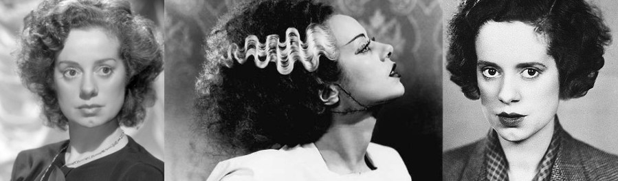 Three portraits of Elsa Lanchester. In the middle as the Bride in The Bride of Frankenstein.
