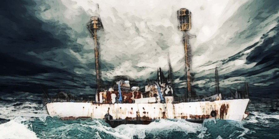Beda: Freighter in stormy sea painting