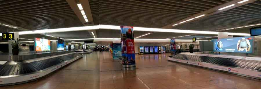 Brussels airport panorama baggage reclaim hall