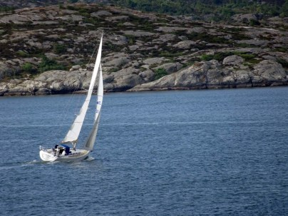Yacht and rocky island from Stena Danica
