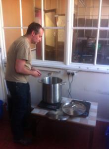 Paul preparing his brew