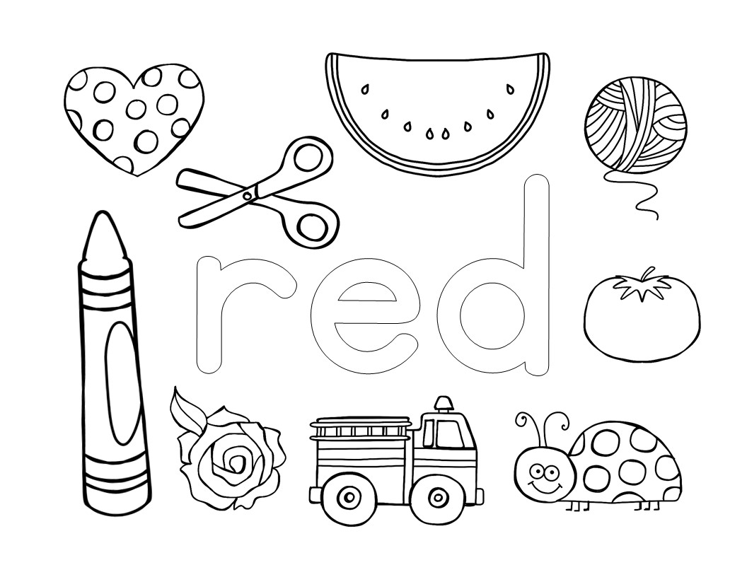then i passed out their coloring sheets and gave them each a red crayon we talked about the different objects on the page and read the color name together - Name Coloring Pages