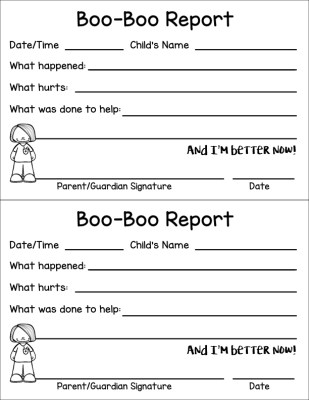 Free Boo-Boo Report Sheet for Daycares and Teachers