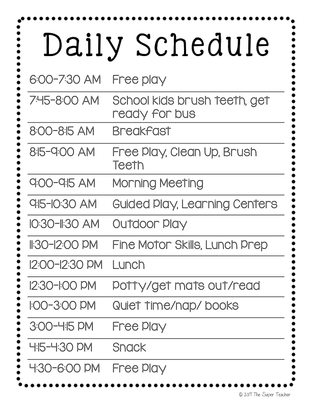 how to make a daycare schedule that works  free template