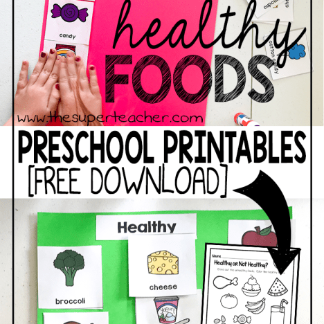 Healthy Foods Preschool Printables