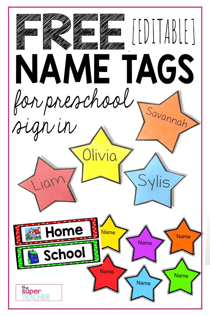 Free Editable Star Name Tags The Super Teacher