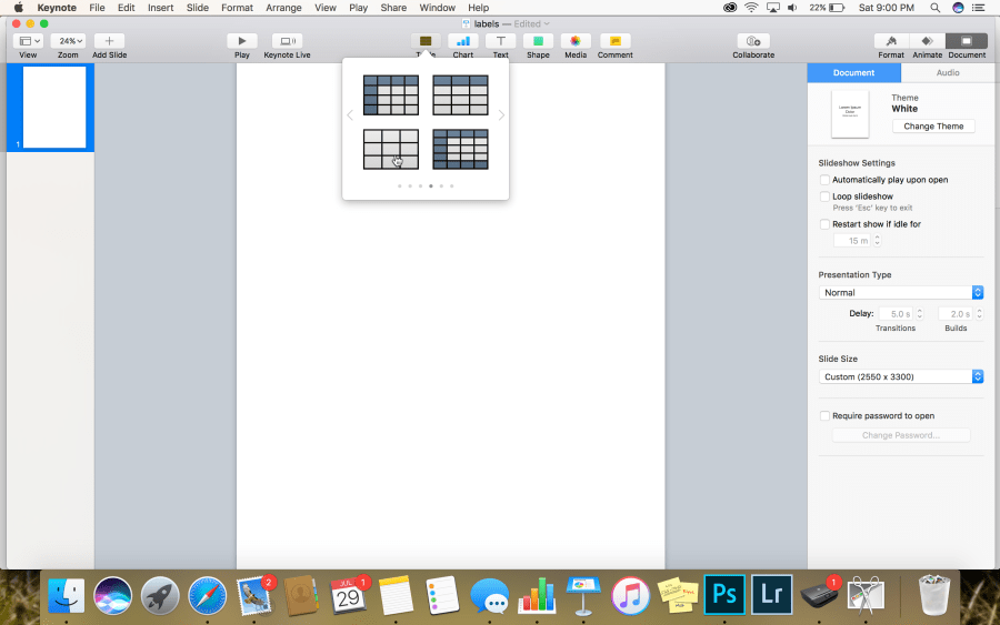 How to insert a table in Keynote for picture labels.