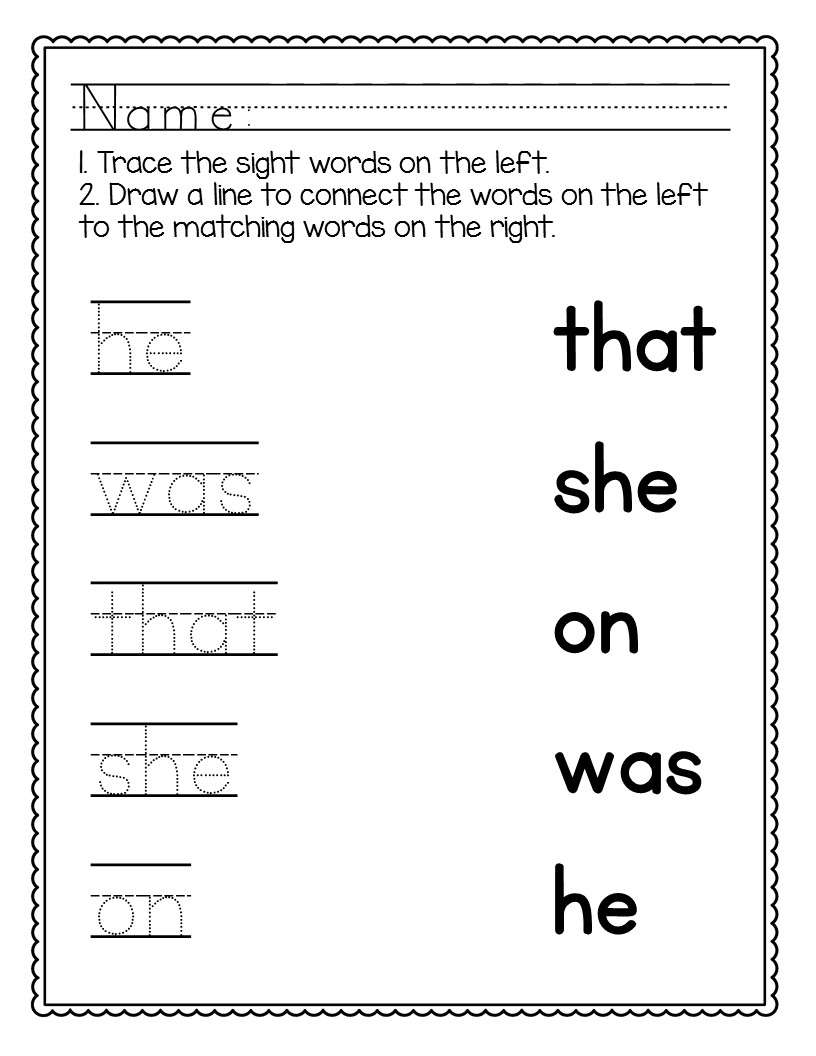 - Kindergarten Sight Words Worksheets [NO PREP] - The Super Teacher