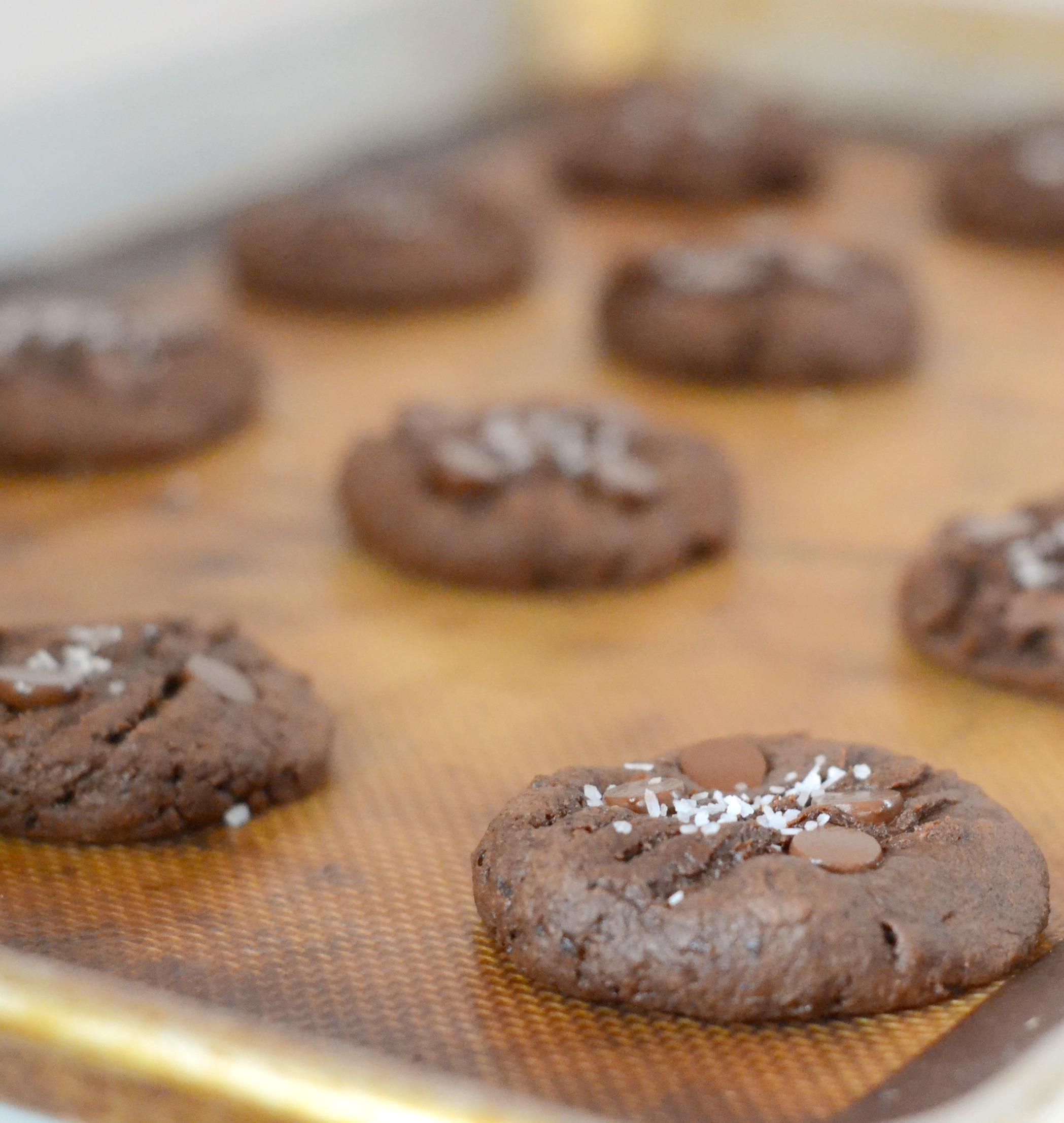 chocolate fudge cookies on a cookie sheet