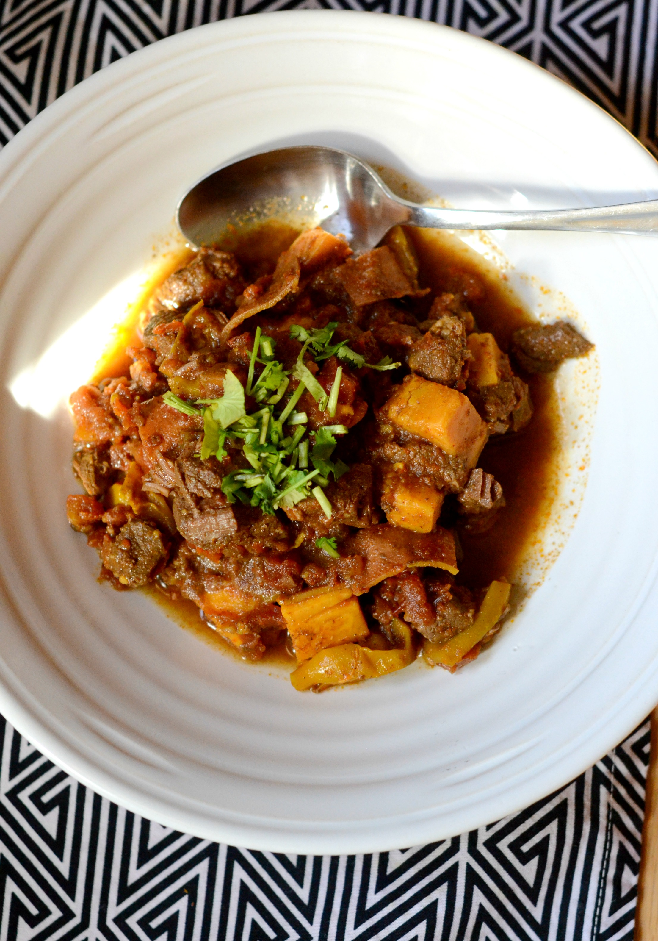 overhead shot of a bowl of chili with sweet potatos