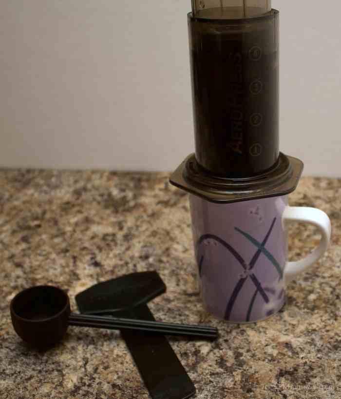brewing coffee in the aeropress