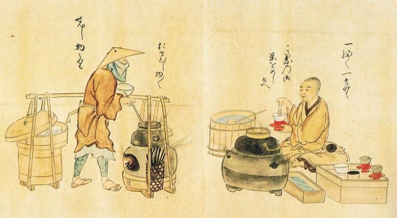 Een Zen-boeddhistische monnik drinkt thee. Kanō Osanobu 71 utaiawase.