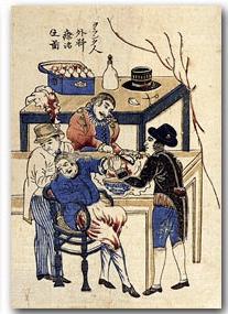 Amputatie van een hand door Westerse artsen op Deshima.