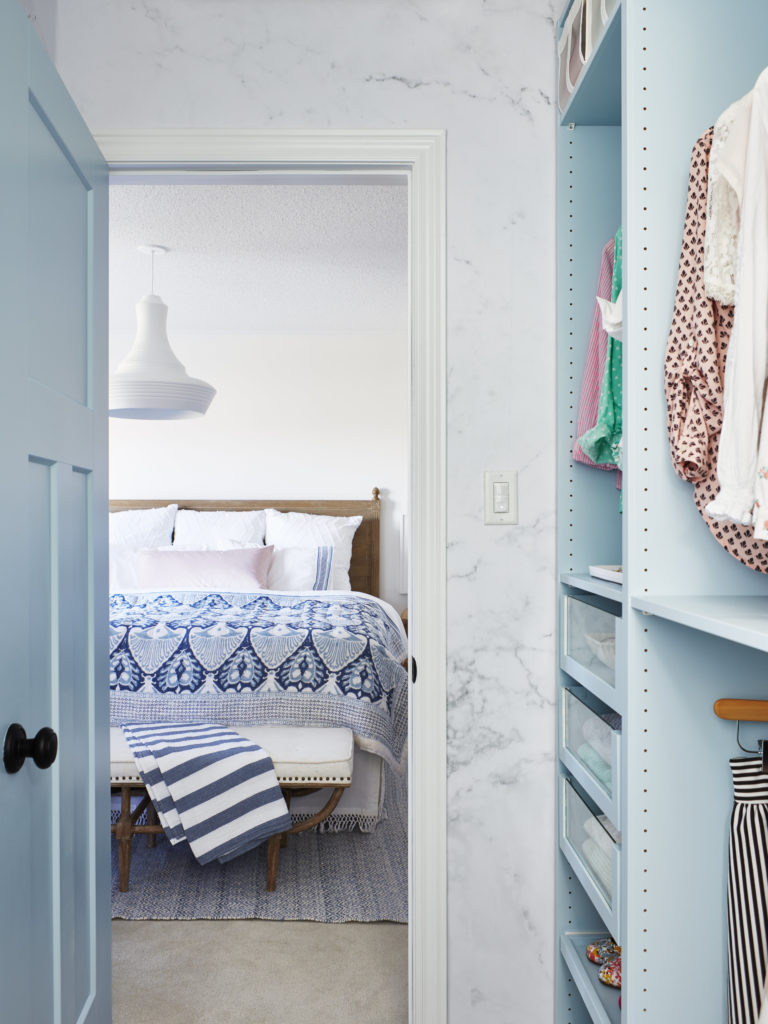 coastal bedroom with ikea pax hack closet