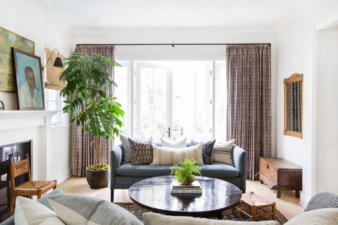 Amber Interiors Living Room Euro Pleat Curtains