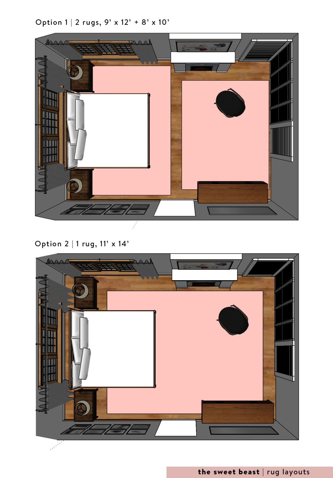 Long Large Bedroom Rug Layouts