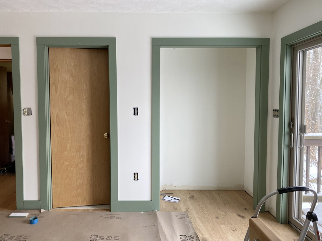 Cabin Bedroom Green Trim in Progress