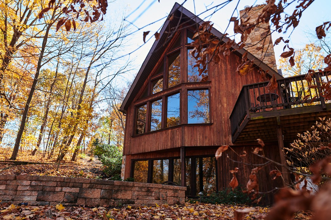 A-frame Style Cabin Exterior in the Fall