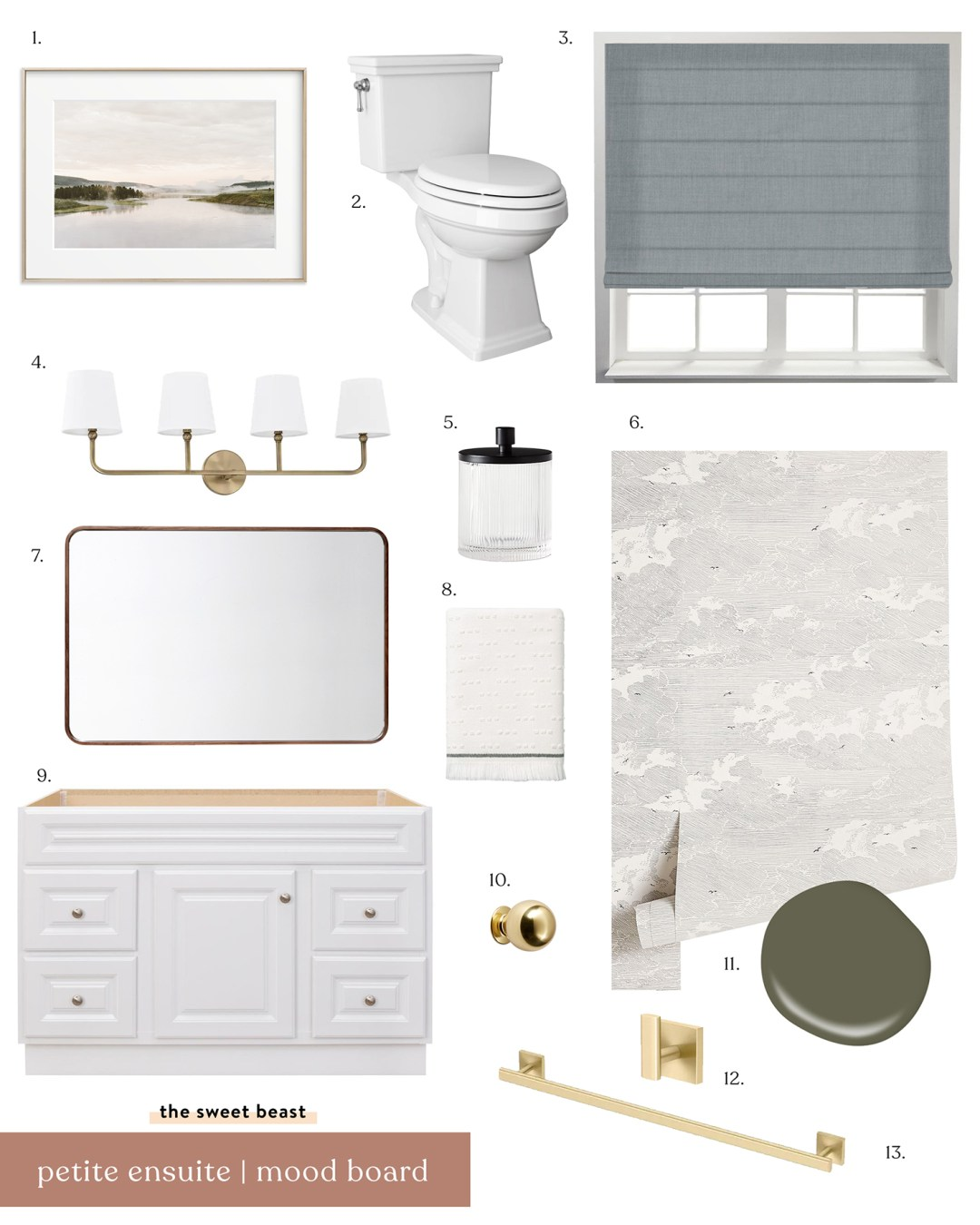 Modern Traditional Bathroom Moodboard