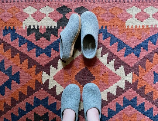 Kyrgies Slippers on Kilim Rug