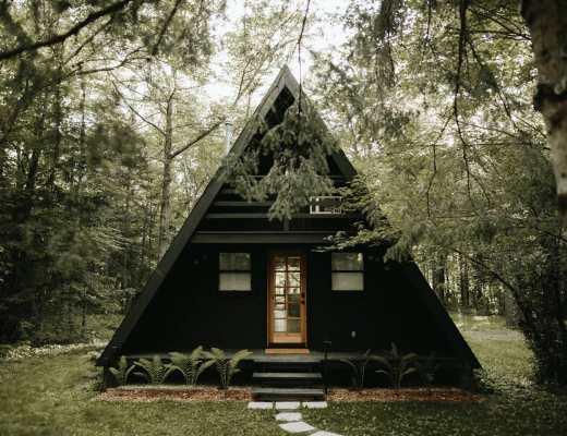 Black Exterior A-Frame Cabin