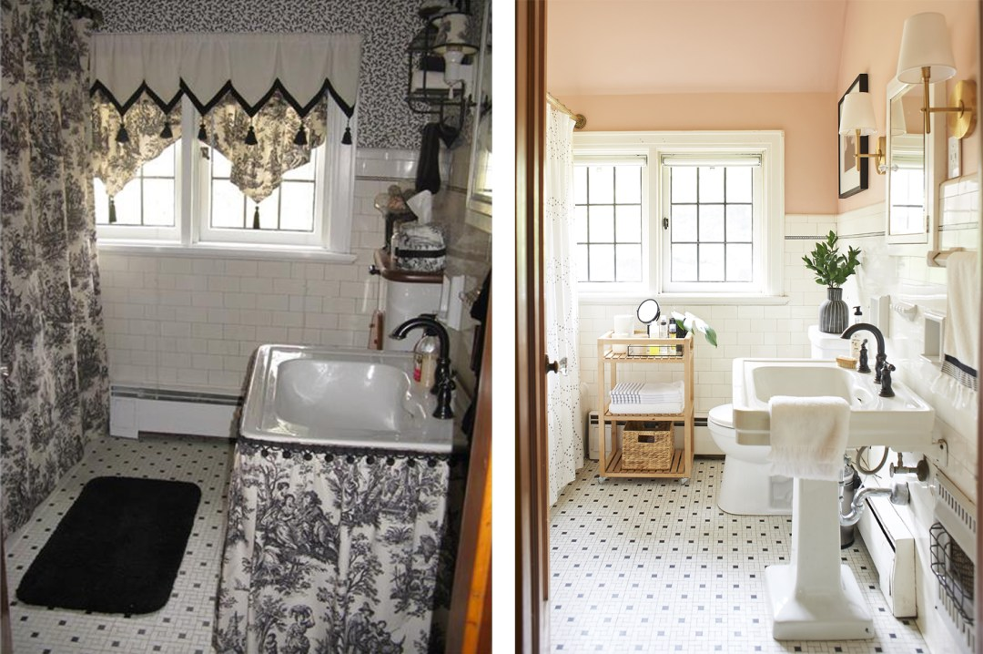 Blush Bathroom Before and After Composite