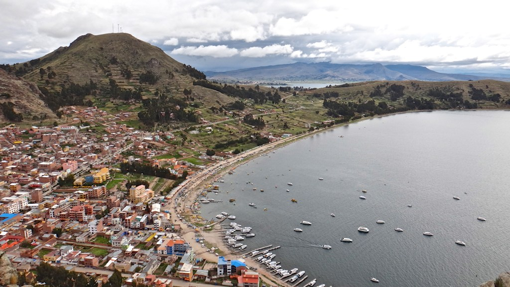 Hiking up to the town's viewpoint in Copacabana, Bolivia