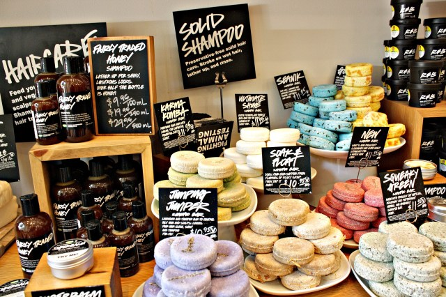 Natural beauty products at Lush in Portland