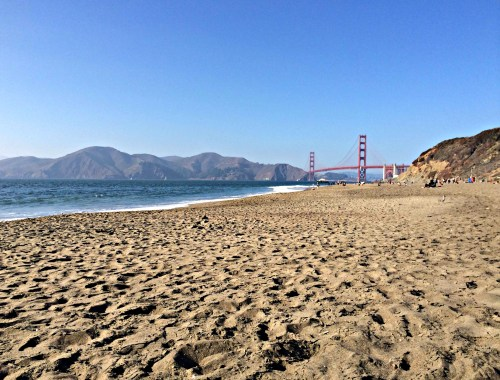 Baker Beach and San Francisco's Golden Gate Bridge.