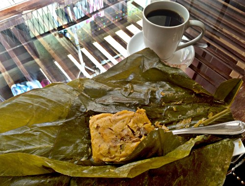 Breakfast tamale at Casa Sucre Coffeehouse, Casco Viejo, Panama