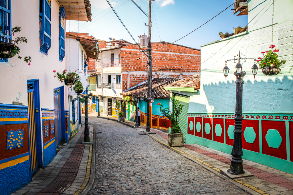 The cobblestone streets of Guatape, Colombia