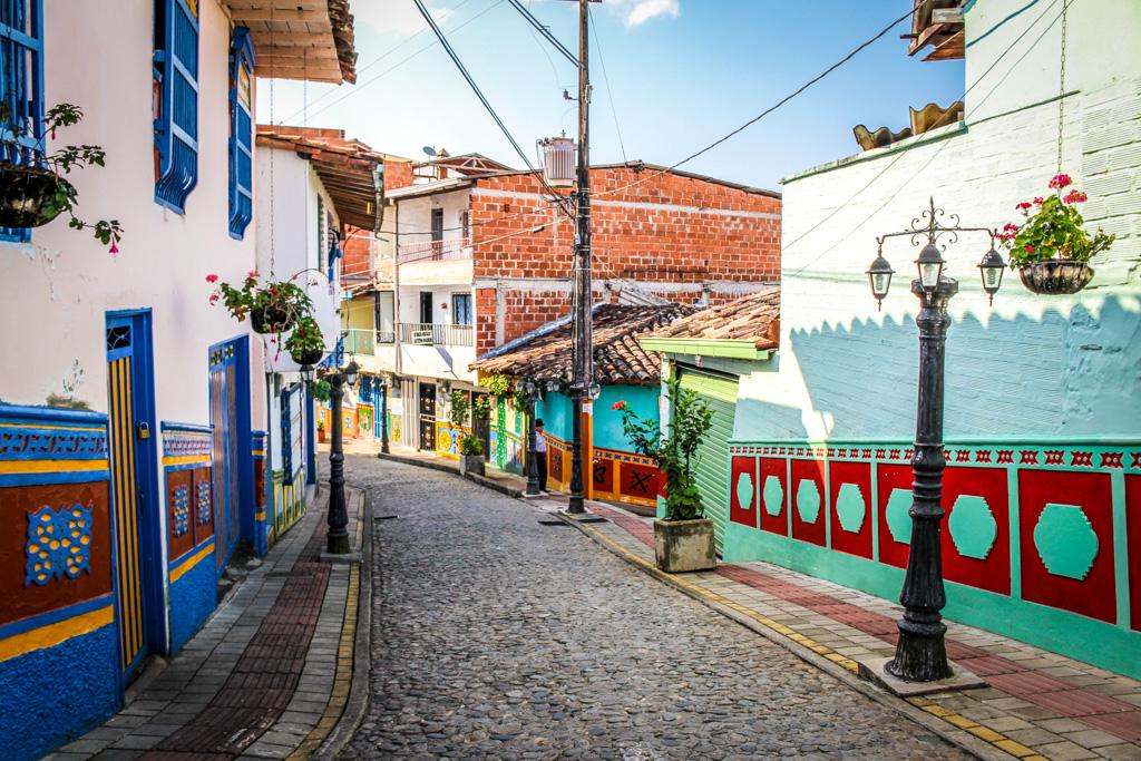 The cobblestone streets of Guatape, Colombia