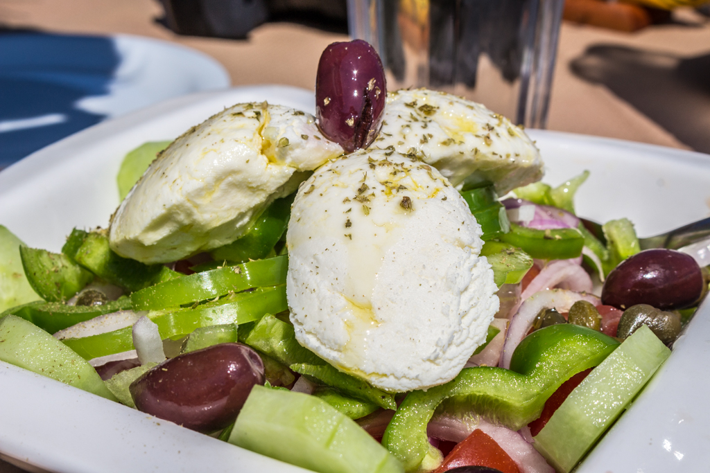 Greek salad with a slight variation--local cheese from the island of Ios