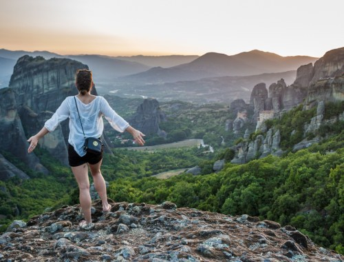 Sunset hike in Meteora, Greece